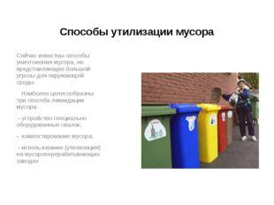 Способы утилизации мусора Сейчас известны способы уничтожения мусора, не пред
