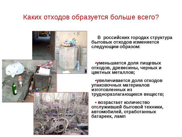 Каких отходов образуется больше всего? В российских городах структура бытовых...