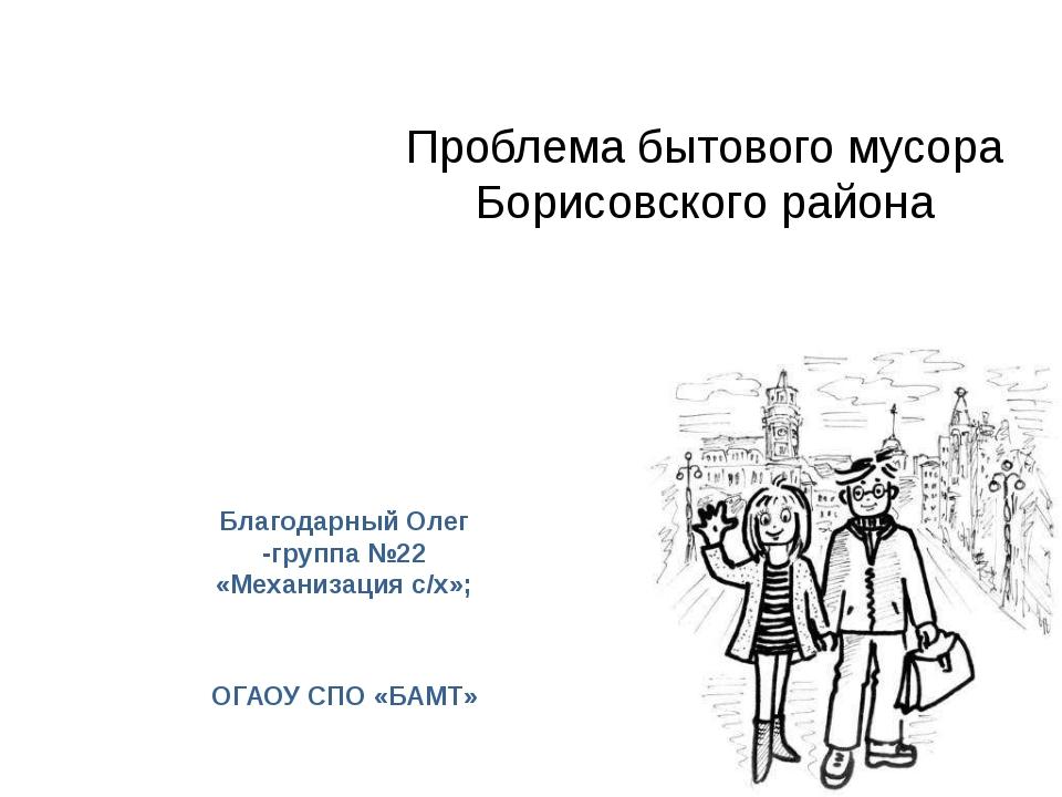 Проблема бытового мусора Борисовского района Благодарный Олег -группа №22 «М...