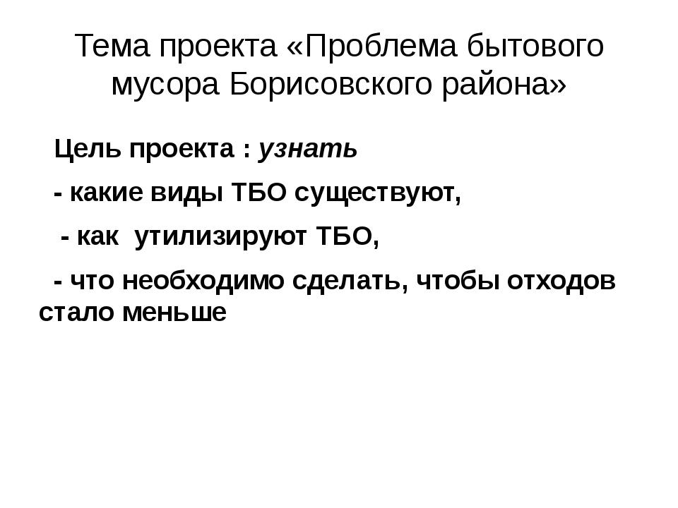 Тема проекта «Проблема бытового мусора Борисовского района» Цель проекта : уз...