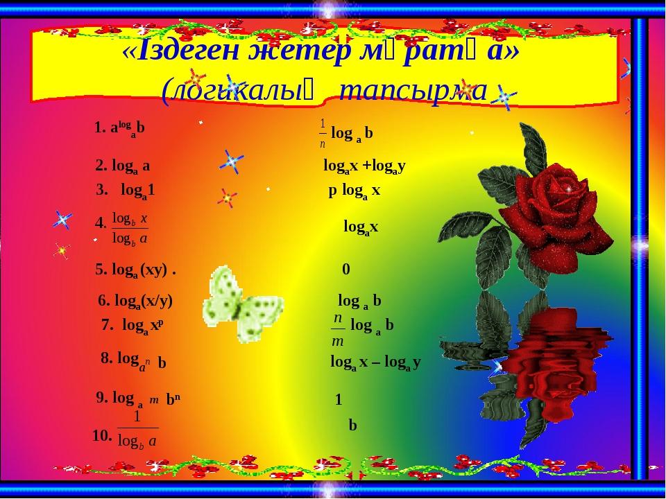 «Іздеген жетер мұратқа» (логикалық тапсырма 1. alogab  log a b 2. loga a log...