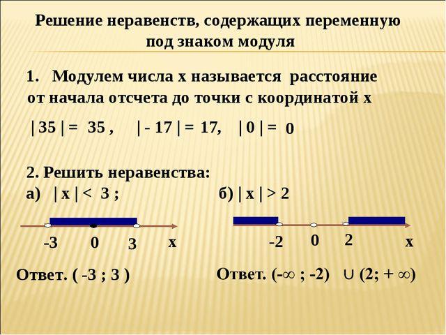 Решение неравенств, содержащих переменную под знаком модуля 1. Модулем числа...