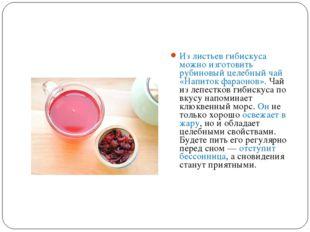 Из листьев гибискуса можно изготовить рубиновый целебный чай «Напиток фараоно