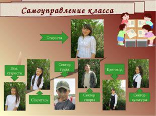 Самоуправление класса Зам. старосты Сектор труда Цветовод Секретарь Сектор сп