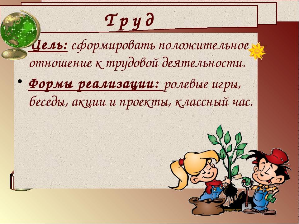 Цель: сформировать положительное отношение к трудовой деятельности. Формы реа...