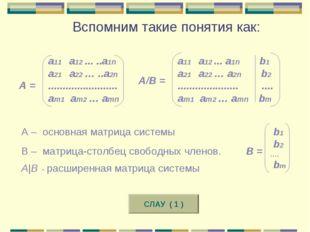 А = а11 а12 ... ..a1n a21 a22 … ..a2n ........................ am1 am2 … amn