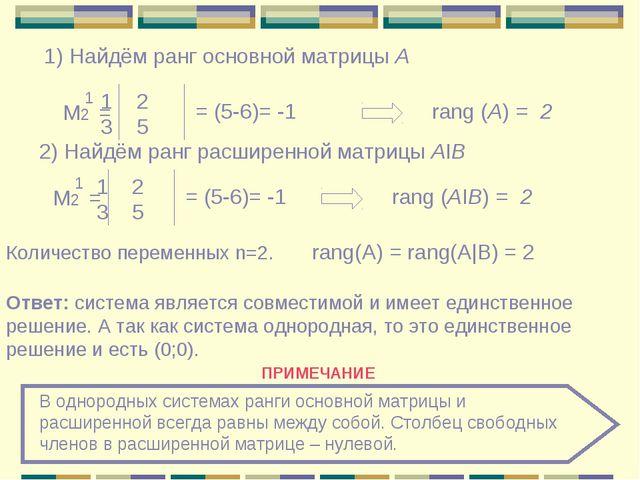 1) Найдём ранг основной матрицы А Μ2 = 1 2 3 5 = (5-6)= -1 rang (A) = 2 2) На...