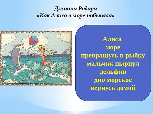 Джанни Родари «Как Алиса в море побывала» Алиса море превращусь в рыбку мальч...