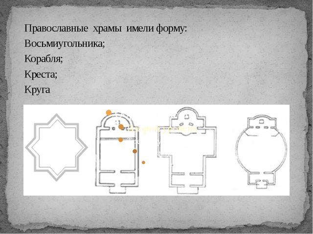 Православныехрамыимели форму: Восьмиугольника; Корабля; Креста; Круга