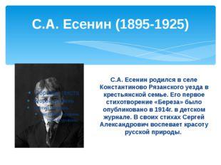 С.А. Есенин (1895-1925) С.А. Есенин родился в селе Константиново Рязанского у