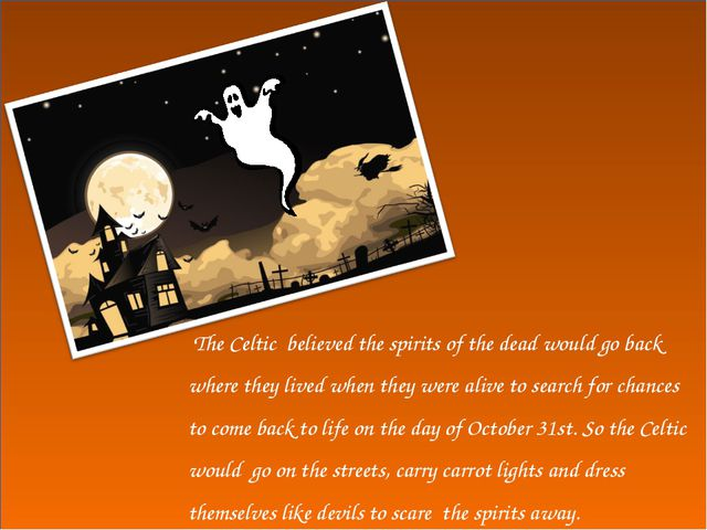 The Celtic believed the spirits of the dead would go back where they lived w...