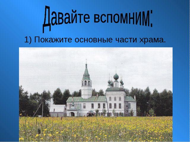 1) Покажите основные части храма.