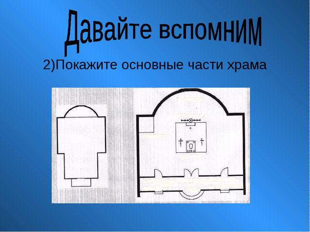 2)Покажите основные части храма