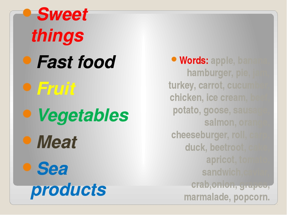 Sweet things Fast food Fruit Vegetables Meat Sea products Words: apple, bana...