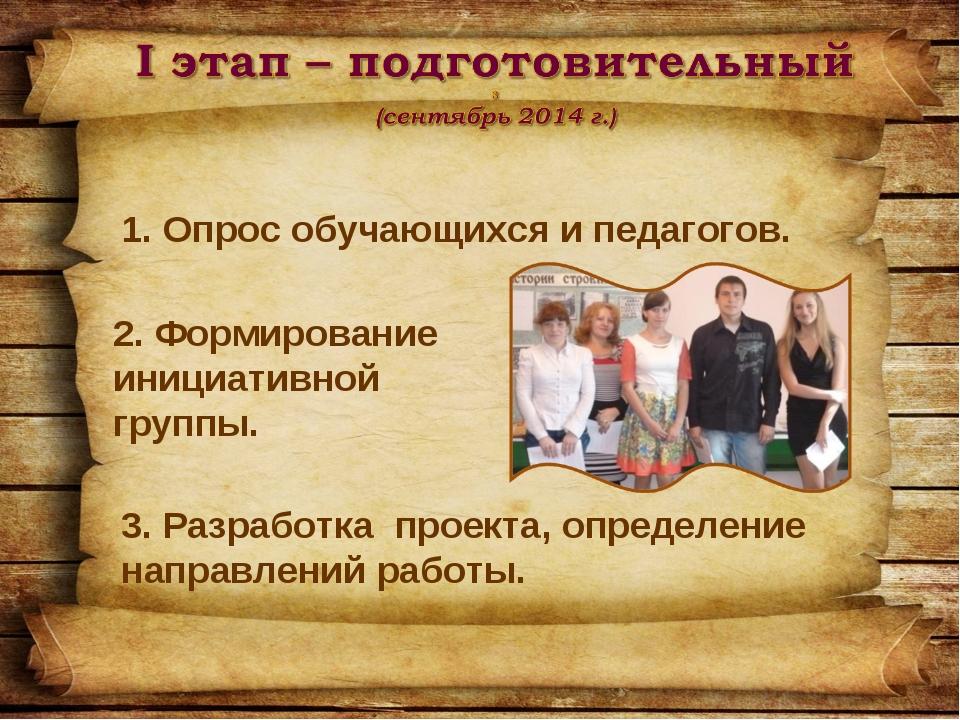Опрос обучающихся и педагогов. 2. Формирование инициативной группы. 3. Разра...
