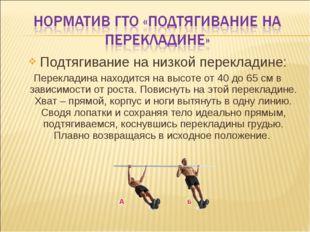 Подтягивание на низкой перекладине: Перекладина находится на высоте от 40 до