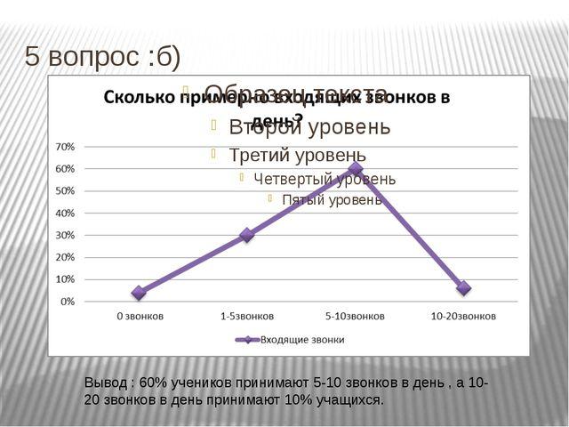 5 вопрос :б) Вывод : 60% учеников принимают 5-10 звонков в день , а 10-20 зво...