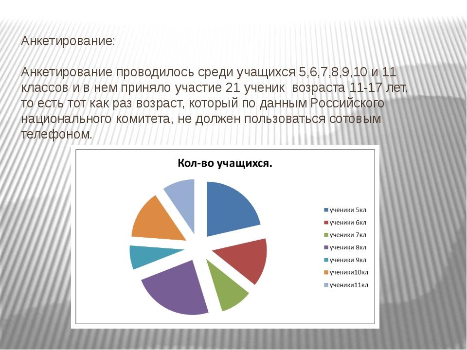 Анкетирование: Анкетирование проводилось среди учащихся 5,6,7,8,9,10 и 11 кла...