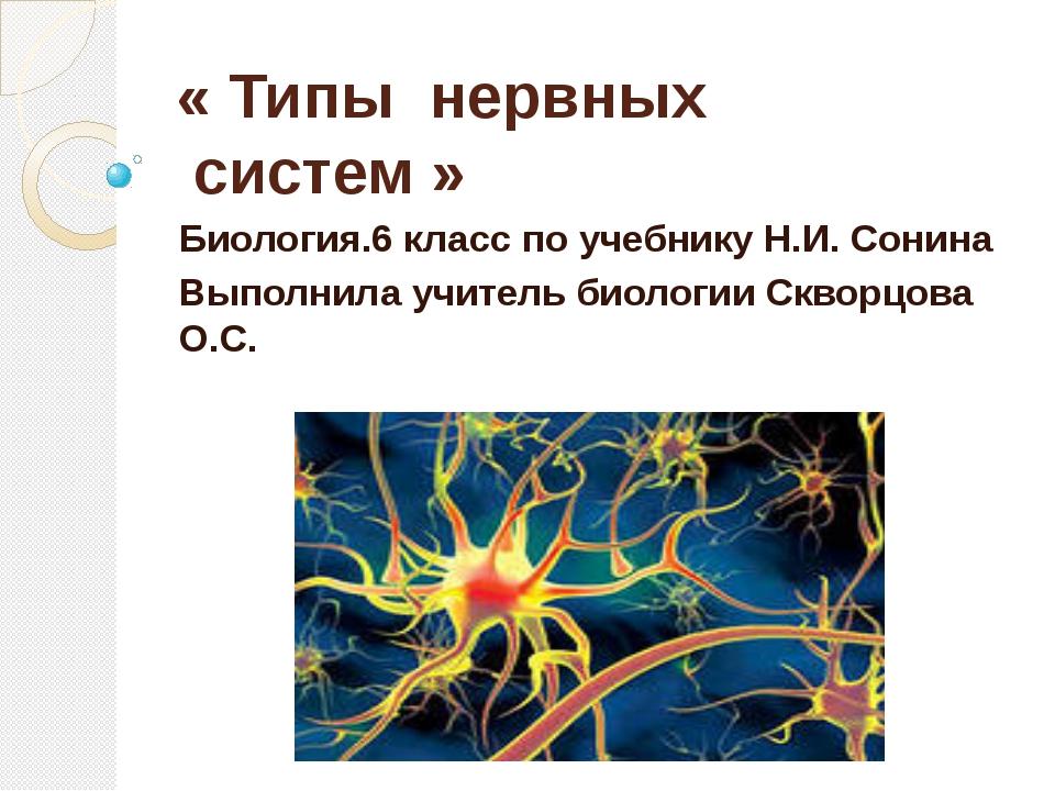 « Типы нервных систем» Биология.6 класс по учебнику Н.И. Сонина Выполнила...