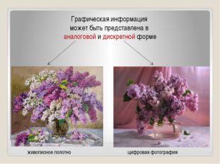 Графическая информация может быть представлена в аналоговой и дискретной форм