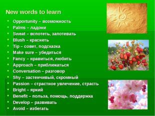 New words to learn Opportunity – возможность Palms – ладони Sweat – вспотеть,
