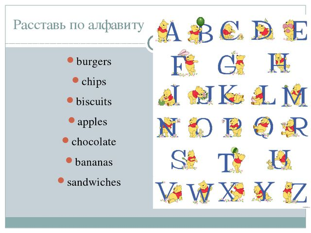 Расставь по алфавиту burgers chips biscuits apples chocolate bananas sandwiches