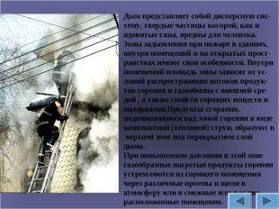 Дым представляет собой дисперсную сис-тему, твердые частицы которой, как и яд
