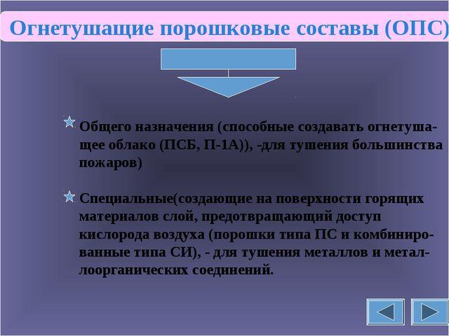 Огнетушащие порошковые составы (ОПС) Общего назначения (способные создавать...