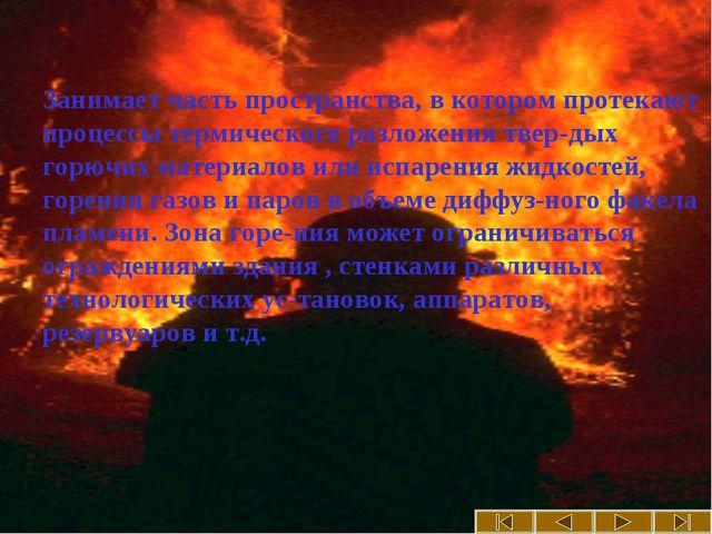 Зона горения Занимает часть пространства, в котором протекают процессы терми...