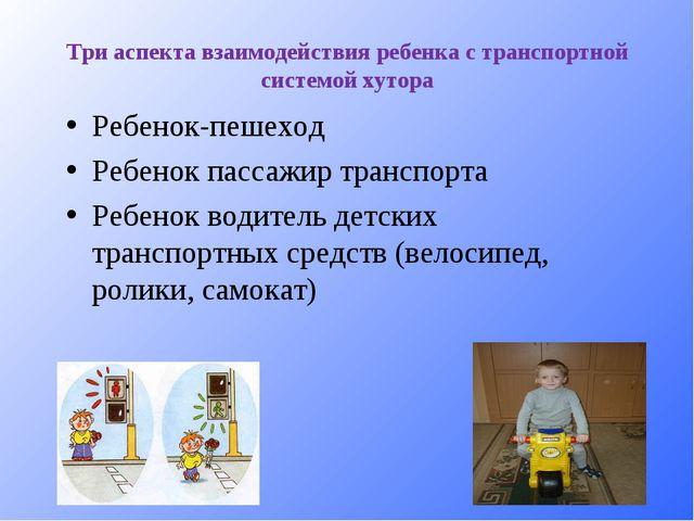 Три аспекта взаимодействия ребенка с транспортной системой хутора Ребенок-пеш...
