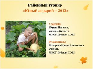 Районный турнир «Юный аграрий – 2013» Участник: Юдина Наталья, ученица 6 кла