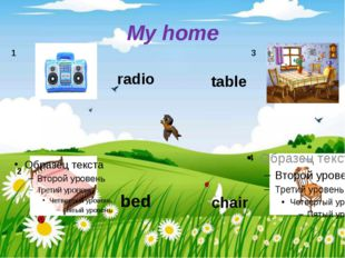 My home radio bed table chair 1 2 3 4