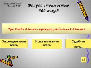Вопрос стоимостью 300 очков Государственная власть в РФ Законодательная ветвь