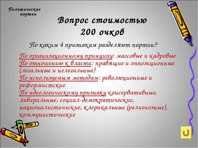 Вопрос стоимостью 200 очков Политические партии По каким 4 признакам разделяю...