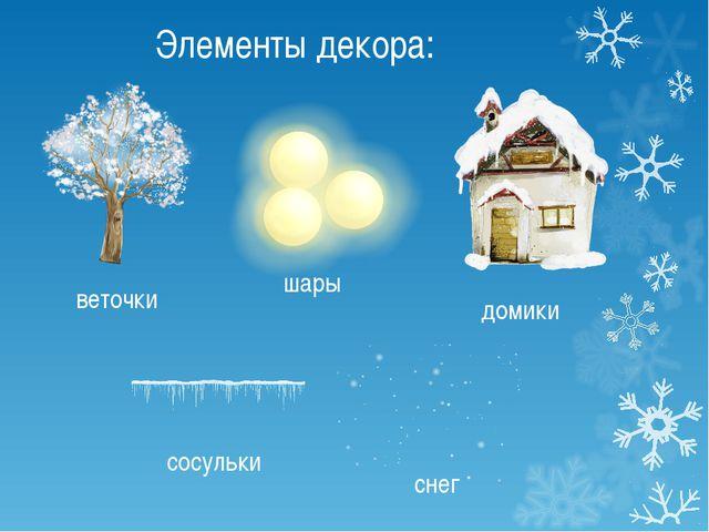 Элементы декора: домики веточки сосульки снег шары
