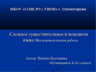 МБОУ «СОШ №3 с УИОП» г. Сосногорска Сложное существительное в немецком языке