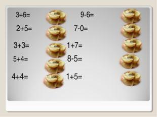 3+6=  9-6= 2+5=  7-0= 3+3= 1+7= 5+4= 8-5= 4+4= 1+5=