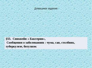 Домашнее задание §55.Синквейн« Бактерии», Сообщения о заболеваниях :чума, сап