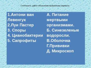 Соотнесите, дайте объяснение выбранному варианту. 1.АнтониванЛевенгук 2.Луи П