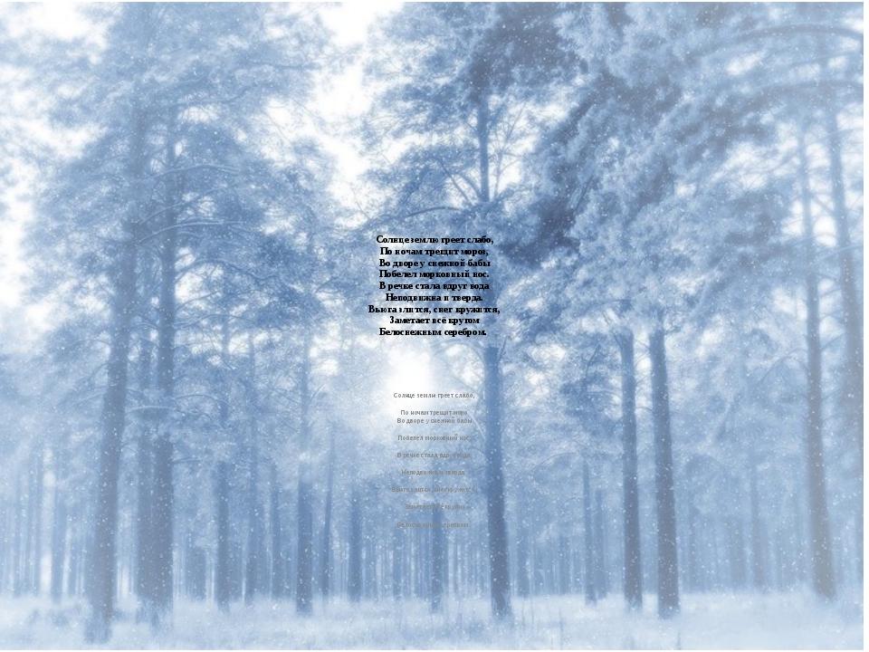 Солнце землю греет слабо, По ночам трещит мороз, Во дворе у снежной бабы Поб...