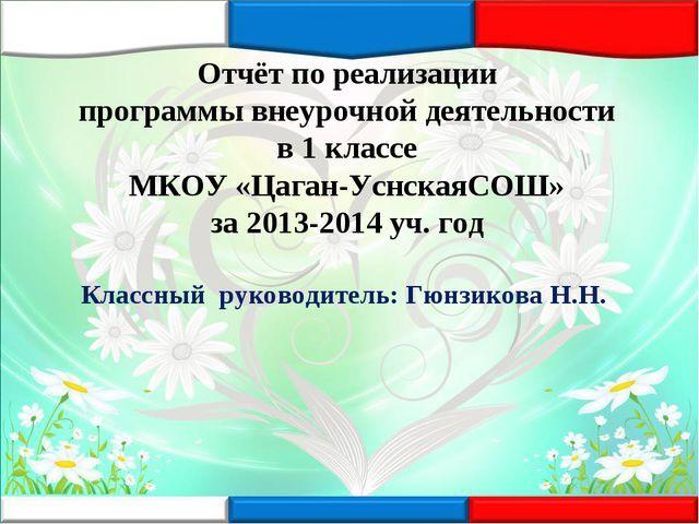 Отчёт по реализации программы внеурочной деятельности в 1 классе МКОУ «Цаган-...