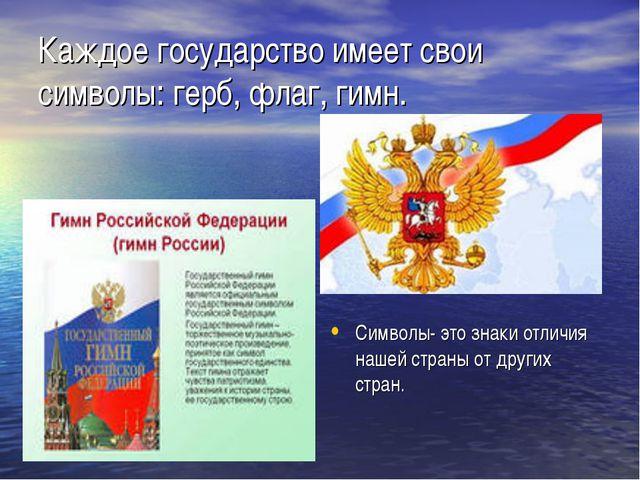 Каждое государство имеет свои символы: герб, флаг, гимн. Символы- это знаки о...