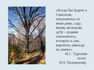 «Когда Вы будете в Спасском, поклонитесь от меня дому, саду, моему молодому д