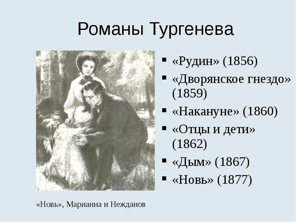 Романы Тургенева «Рудин» (1856) «Дворянское гнездо» (1859) «Накануне» (1860)...