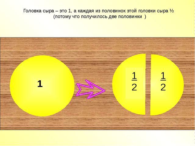 Головка сыра – это 1, а каждая из половинок этой головки сыра ½ (потому что...