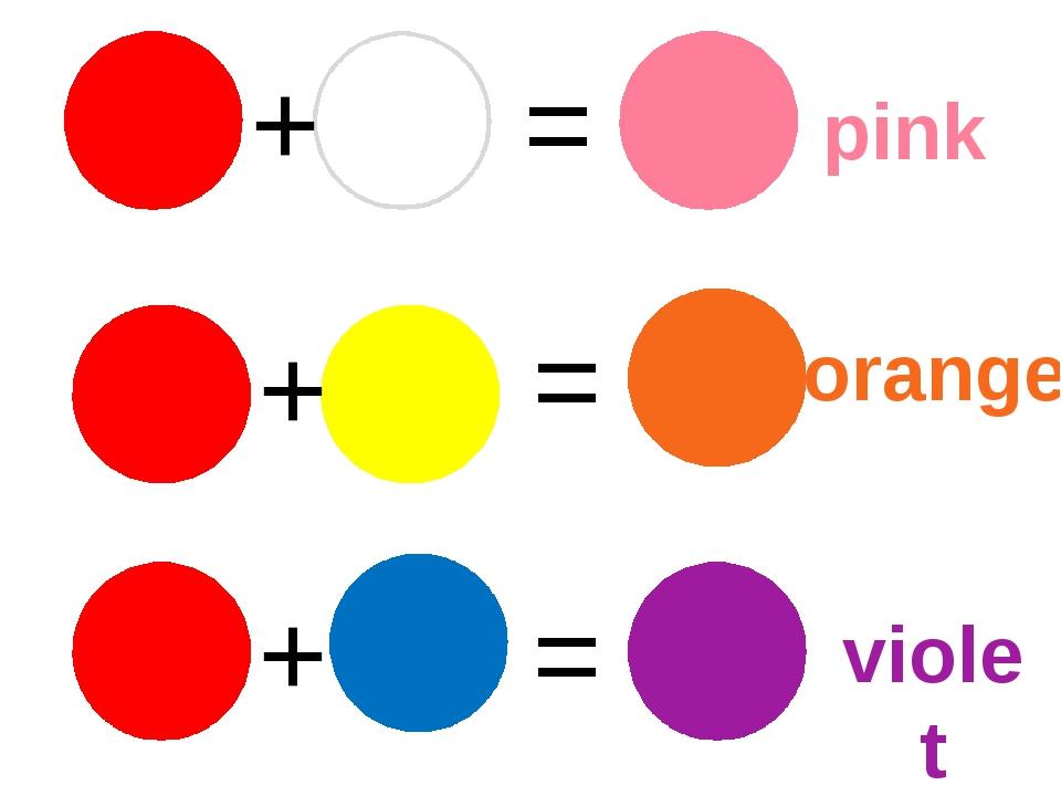+ + + = = = pink orange violet