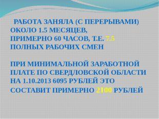 РАБОТА ЗАНЯЛА (С ПЕРЕРЫВАМИ) ОКОЛО 1.5 МЕСЯЦЕВ, ПРИМЕРНО 60 ЧАСОВ, Т.Е. 7.5