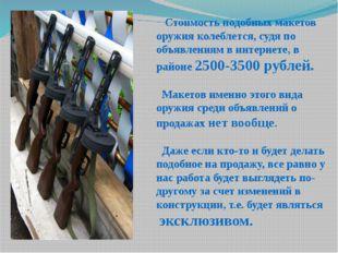 Стоимость подобных макетов оружия колеблется, судя по объявлениям в интернет