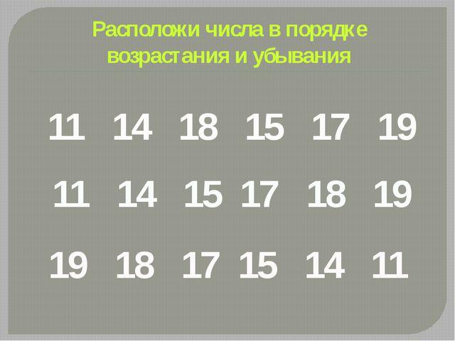 Расположи числа в порядке возрастания и убывания 11 14 18 15 17 19 11 14 15 1...