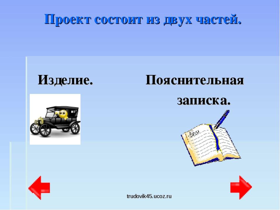 trudovik45.ucoz.ru Проект состоит из двух частей. Изделие. Пояснительная запи...